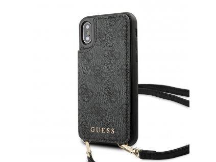 Ochranný kryt pro iPhone XS / X - Guess, 4G Crossbody Cardslot Grey