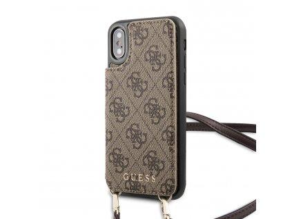 Ochranný kryt pro iPhone XS / X - Guess, 4G Crossbody Cardslot Brown