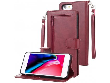 Pouzdro pro iPhone 6 / 6S / 7 / 8 / SE (2020) - Mercury, Detachable Diary Wine