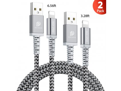 Kabel Lightning pro iPhone a iPad - DuxDucis, KII Pro 2-PACK SET (200cm+100cm) Black