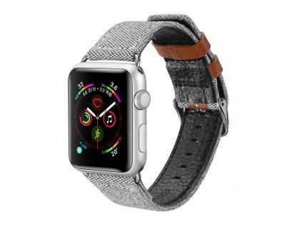 Kožený pásek / řemínek pro Apple Watch 42mm / 44mm - DuxDucis, Casual Gray