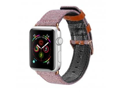 Kožený pásek / řemínek pro Apple Watch 42mm / 44mm - DuxDucis, Casual Pink
