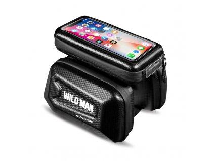Cyklotaška / brašna na kolo s otvorem na mobilní telefon - WildMan, Sakwa XL Black