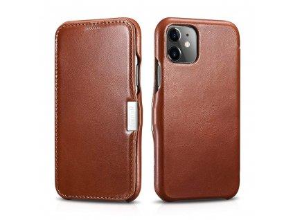 Knížkové pouzdro pro iPhone 11 - iCarer, Vintage Brown