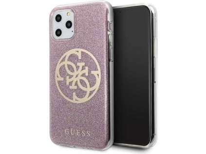 Ochranný kryt na iPhone 11 Pro - Guess, Glitter 4G Circle Pink