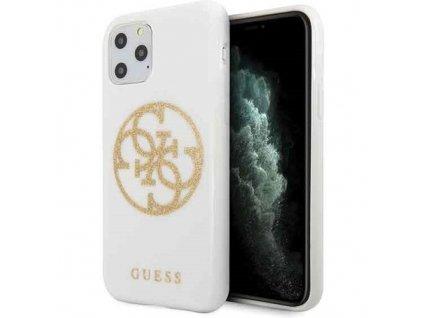 Ochranný kryt na iPhone 11 Pro - Guess, Glitter 4G Circle White
