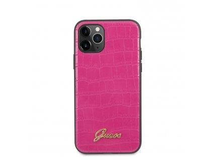 Ochranný kryt na iPhone 11 Pro - Guess, Croco Back Pink
