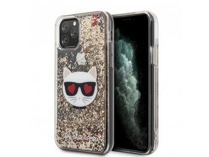 Ochranný kryt na iPhone 11 Pro MAX - Karl Lagerfeld, Heads Glitter Gold