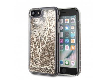Ochranný kryt pro iPhone 7 / 8 / SE (2020) - Karl Lagerfeld, Signature Glitter Gold