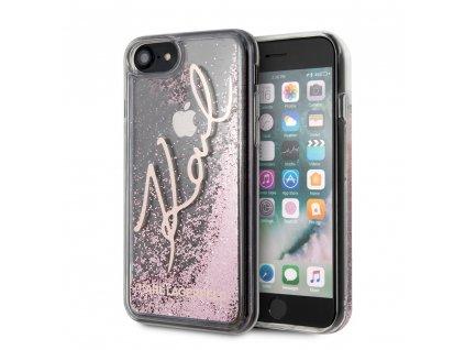 Ochranný kryt pro iPhone 7 / 8 / SE (2020) - Karl Lagerfeld, Signature Glitter RoseGold
