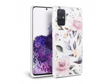 Ochranný kryt pro Samsung Galaxy A41 - Tech-Protect, Floral White