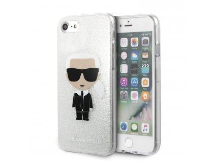 Ochranný kryt pro iPhone 7 / 8 / SE (2020) - Karl Lagerfeld, Glitter Iconic Silver