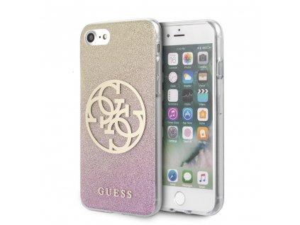 Ochranný kryt pro iPhone 7 / 8 / SE (2020) - Guess, Glitter 4G Circle Rose