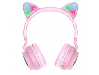 Bezdrátová náhlavní sluchátka - Hoco, W27 CatEar Pink