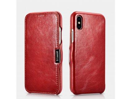 Knížkové pouzdro pro iPhone XS / X - iCarer, Vintage Red