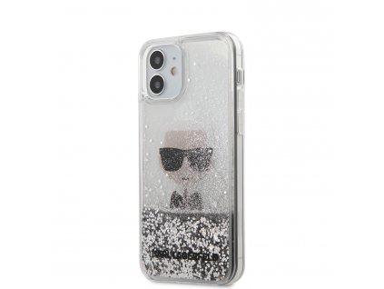 Ochranný kryt pro iPhone 12 mini - Karl Lagerfeld, Liquid Glitter Iconic Silver