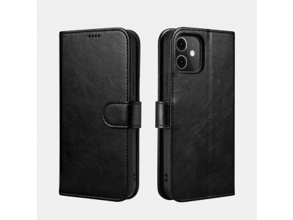 Pouzdro pro iPhone 12 / 12 Pro - iCarer, Classic Wallet Black