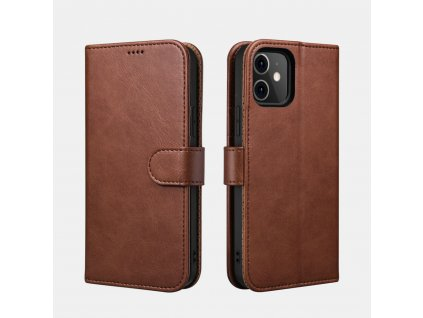 Pouzdro pro iPhone 12 / 12 Pro - iCarer, Classic Wallet Brown