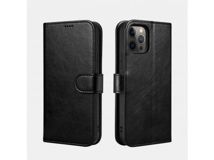 Pouzdro na iPhone 12 Pro MAX - iCarer, Classic Wallet Black
