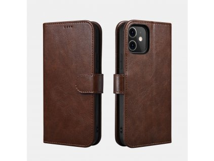 Pouzdro na iPhone 12 Pro MAX - iCarer, Classic Wallet Coffee
