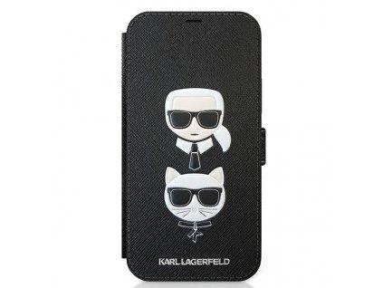 Ochranné pouzdro pro iPhone 12 / 12 Pro - Karl Lagerfeld, Saffiano Heads Book Black