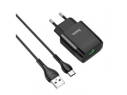 Nabíjecí USB adaptér do sítě - Hoco, C72Q Glorious QC3.0 Black + USB-C kabel