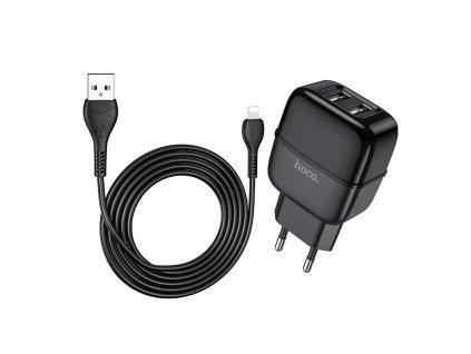 Nabíjecí USB adaptér do zásuvky - Hoco, C77A Highway 2.4A Black + Lightning kabel