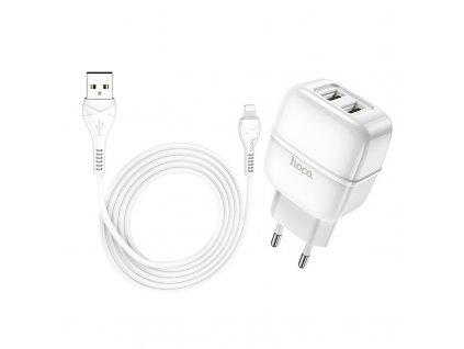 Nabíjecí USB adaptér do zásuvky - Hoco, C77A Highway 2.4A White + Lightning kabel
