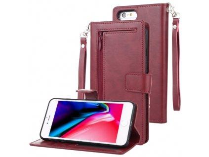 Knížkové pouzdro na iPhone 6 Plus / 6S Plus / 7 Plus / 8 Plus - Mercury, Detachable Diary Wine