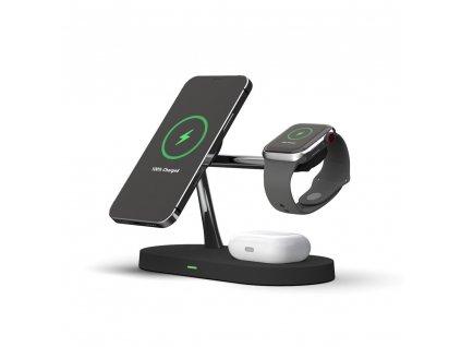 Bezdrátová rychlá nabíječka pro iPhone 12, AirPods a Apple Watch - Tech-Protect, 3in1 MagSafe Wireless Charger Black