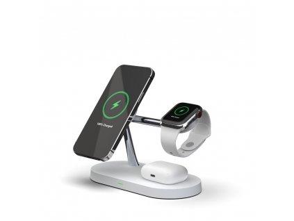Bezdrátová rychlá nabíječka pro iPhone 12, AirPods a Apple Watch - Tech-Protect, 3in1 MagSafe Wireless Charger White