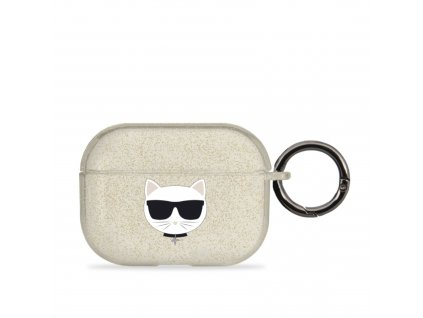 Pouzdro na sluchátka AirPods Pro - Karl Lagerfeld, Glitter Choupette Gold