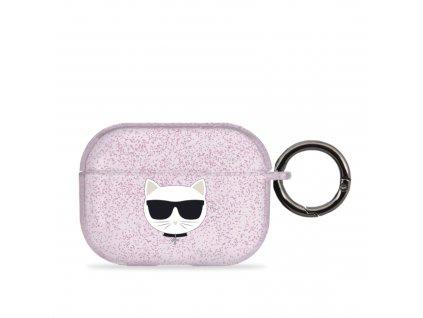 Pouzdro na sluchátka AirPods Pro - Karl Lagerfeld, Glitter Choupette Pink