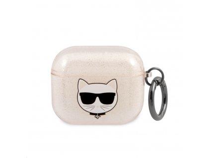 Pouzdro na sluchátka AirPods 3 - Karl Lagerfeld, Glitter Choupette Gold