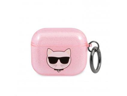 Pouzdro na sluchátka AirPods 3 - Karl Lagerfeld, Glitter Choupette Pink