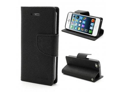 Pouzdro / kryt pro Apple iPhone 5 / 5S / SE - Mercury, Fancy Diary Black/Black