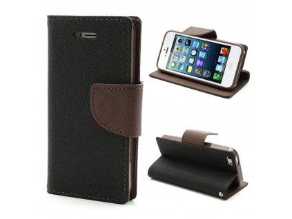 Pouzdro / kryt pro Apple iPhone 5 / 5S / SE - Mercury, Fancy Diary Black/Brown