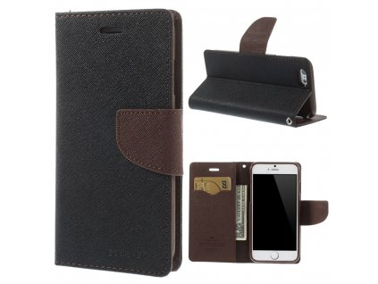 Pouzdro / kryt pro Apple iPhone 6 / 6S - Mercury, Fancy Diary Black/Brown