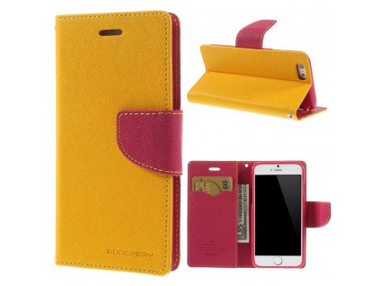 Pouzdro / kryt pro Apple iPhone 6 / 6S - Mercury, Fancy Diary Yellow/Hotpink