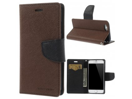Pouzdro / kryt pro Apple iPhone 6 / 6S - Mercury, Fancy Diary Brown/Black