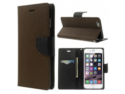 Pouzdro / kryt pro Apple iPhone 6 Plus / 6S Plus - Mercury, Fancy Diary BROWN/BLACK