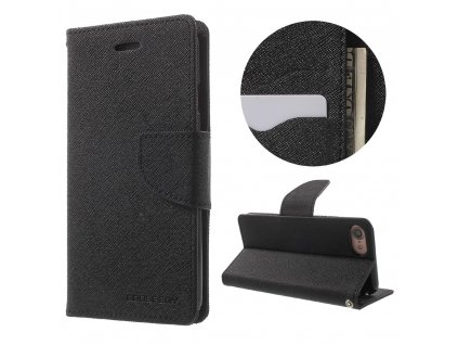 Pouzdro / kryt pro iPhone 7 / 8 / SE (2020) - Mercury, Fancy Diary BLACK/BLACK