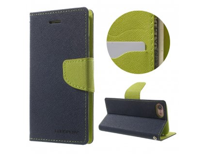 Pouzdro / kryt pro iPhone 7 / 8 - Mercury, Fancy Diary NAVY/LIME
