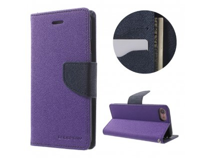 Pouzdro / kryt pro iPhone 7 / 8 / SE (2020) - Mercury, Fancy Diary PURPLE/NAVY