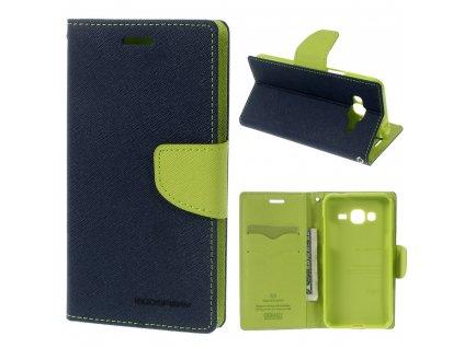 Pouzdro / kryt pro Samsung GALAXY J3 (2016) J3109 - Mercury, Fancy Diary Navy/Lime