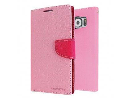 Pouzdro / kryt pro Samsung Galaxy S6 EDGE - Mercury, Fancy Diary Pink/Hotpink