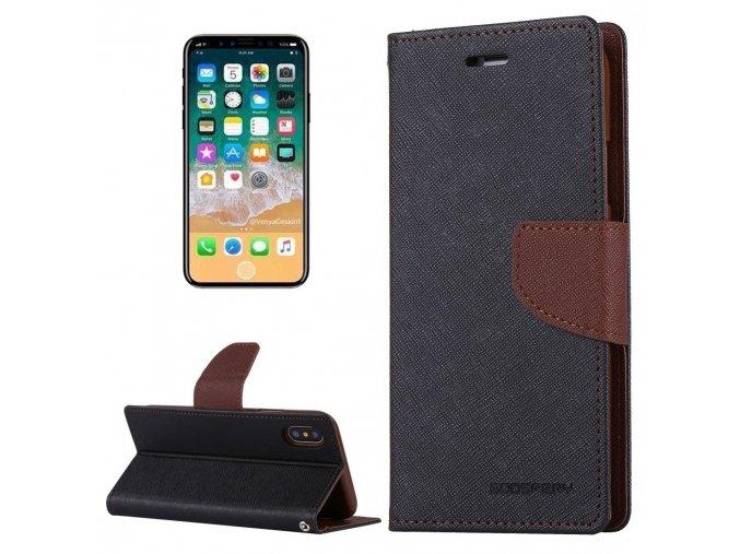 Pouzdro / kryt pro iPhone XS / X - Mercury, Fancy Diary BLACK/BROWN