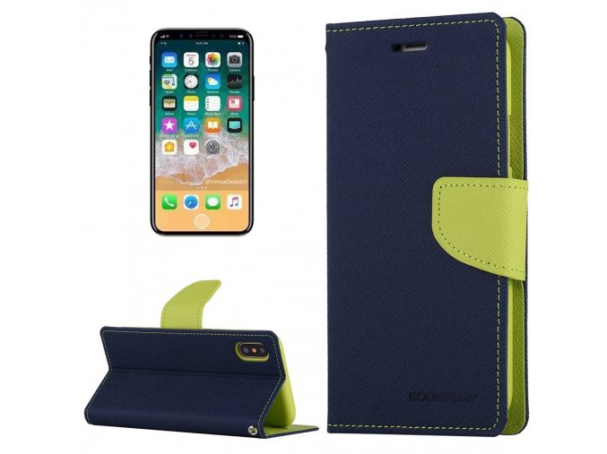 Pouzdro / kryt pro iPhone XS / X - Mercury, Fancy Diary NAVY/LIME