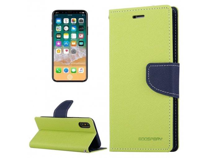 Pouzdro / kryt pro iPhone XS / X - Mercury, Fancy Diary LIME/NAVY