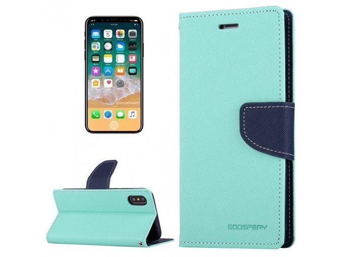 Pouzdro / kryt pro iPhone XS / X - Mercury, Fancy Diary MINT/NAVY